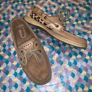 Sperry Angelfish Cheetah Calf Hair Boat Shoes 7